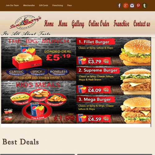 Web template for fast food restuarant